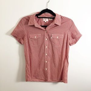 Vintage Levi's red white gingham button down shirt